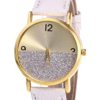 Faux Leather Glitter Face Watch -  WHITE