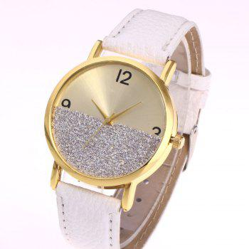 Faux Leather Glitter Face Watch - Blanc