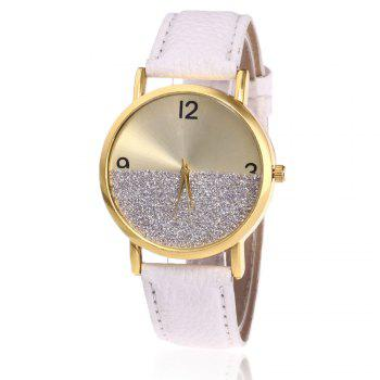 Faux Leather Glitter Face Watch - WHITE WHITE