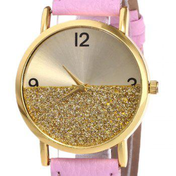 Faux Leather Glitter Face Watch -  PINK
