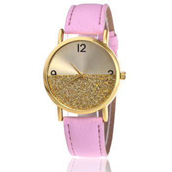 Faux Leather Glitter Face Watch - PINK PINK
