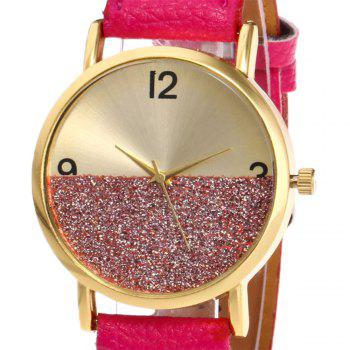 Faux Leather Glitter Face Watch -  TUTTI FRUTTI