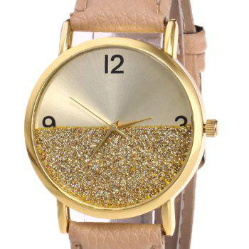 Faux Leather Glitter Face Watch - Kaki