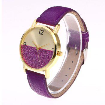 Faux Leather Glitter Face Watch - Pourpre