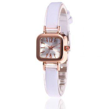 Faux Leather Square Shape Watch - WHITE WHITE