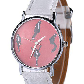 Faux Leather Strap Michael Jackson Pattern Watch -  WHITE