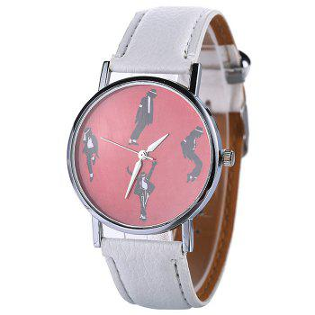 Faux Leather Strap Michael Jackson Pattern Watch - WHITE WHITE