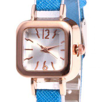 Faux Leather Square Shape Watch -  BLUE