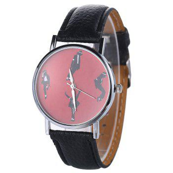 Faux Leather Strap Michael Jackson Pattern Watch - BLACK BLACK