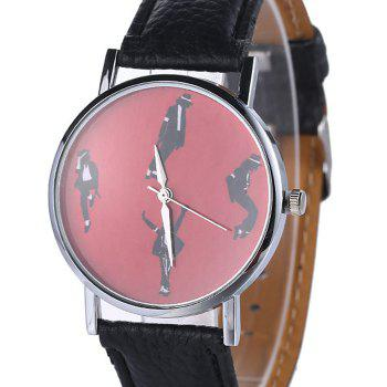 Faux Leather Strap Michael Jackson Pattern Watch -  BLACK
