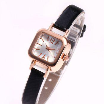 Faux Leather Square Shape Watch -  BLACK