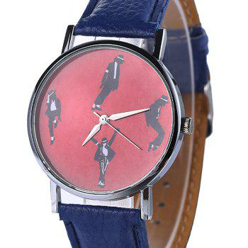 Faux Leather Strap Michael Jackson Pattern Watch -  BLUE