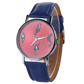 Faux Leather Strap Michael Jackson Pattern Watch - BLUE BLUE