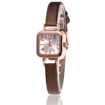 Faux Leather Square Shape Watch - BROWN BROWN