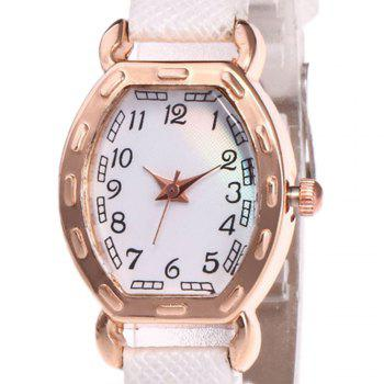 Faux Leather Number Analog Watch -  WHITE