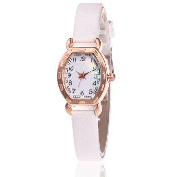 Faux Leather Number Analog Watch - WHITE WHITE