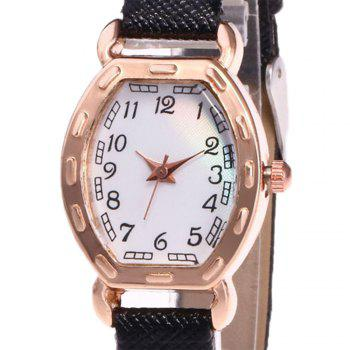 Faux Leather Number Analog Watch -  BLACK