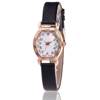 Faux Leather Number Analog Watch - BLACK BLACK
