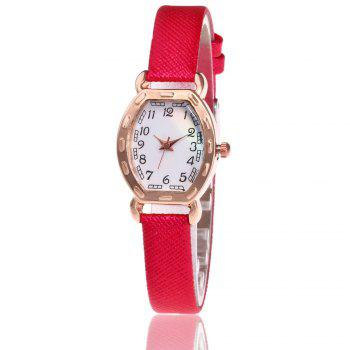 Faux Leather Number Analog Watch - RED RED