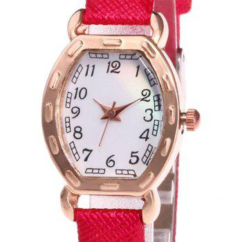 Faux Leather Number Analog Watch -  RED