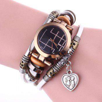 Lover Heart Layered Bracelet Watch - WHITE WHITE