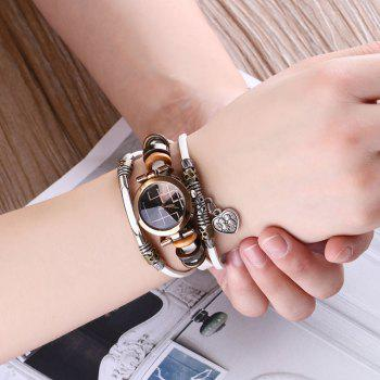 Lover Heart Layered Bracelet Watch - Blanc