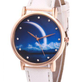 Night View Face Faux Leather Watch -  WHITE