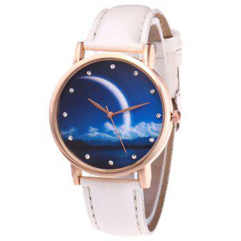 Night View Face Faux Leather Watch - WHITE WHITE