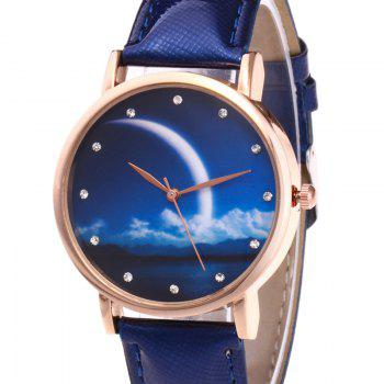 Night View Face Faux Leather Watch -  ROYAL