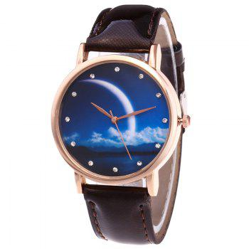 Night View Face Faux Leather Watch - BROWN BROWN