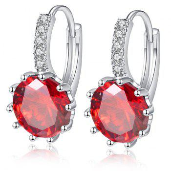 Faux Gemstone strass Inlay Drop Earrings - Rouge