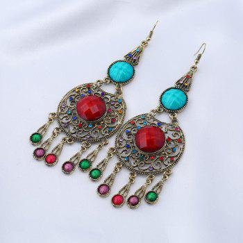 Ethnic Faux Gem Insert Fish Hook Earrings