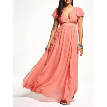 Plunging Neckline Empire Waisted Chiffon Maxi Dress