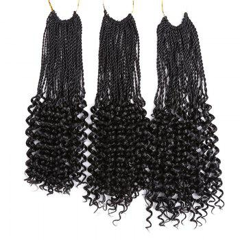 Crochet Pre Twisted Flashy Curl Long Braids Hair Extensions - BLACK 16INCH