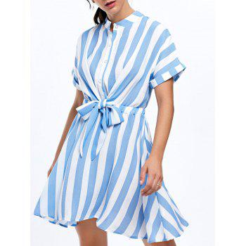Half Button Striped Mini Dress - STRIPE M