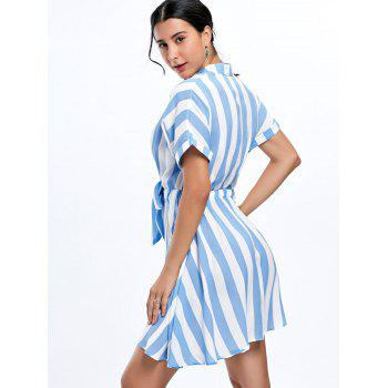 Half Button Striped Mini Dress - M M