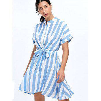 Half Button Striped Mini Dress - L L