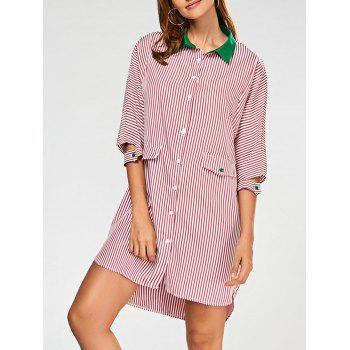 Striped High Low Shirt Dress - RED RED