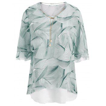 Chain Insert Printed Plus Size Chiffon Top