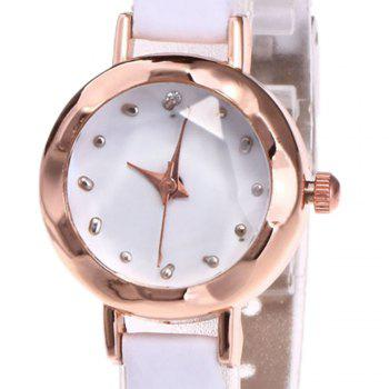 Faux Leather Roundel Watch -  WHITE