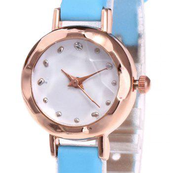 Faux Leather Roundel Watch -  AZURE