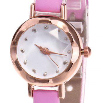 Faux Leather Roundel Watch -  PINK