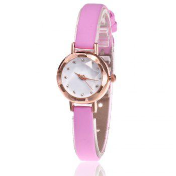 Faux Leather Roundel Watch - PINK PINK