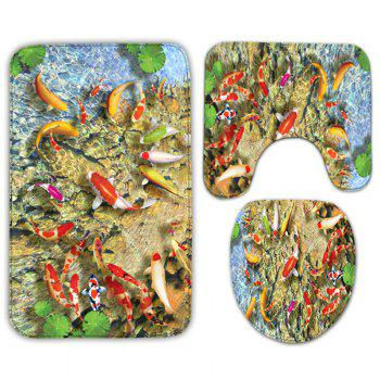 3Pcs Goldfish Print Flannel Antiskid Ensemble de tapis de toilette - multicolorcolore