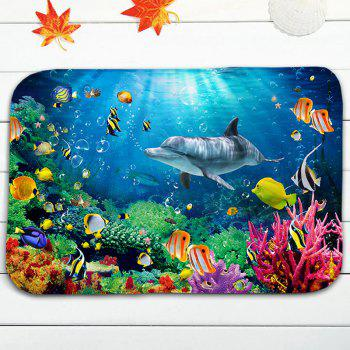 Sea World Print Skidproof 3Pcs Ensemble de tapis de toilette en flanelle - Bleu