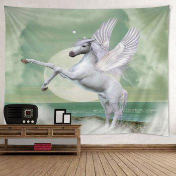 Winged Unicorn Print Tapestry Wall Hanging Art - Blanc W79 INCH * L59 INCH