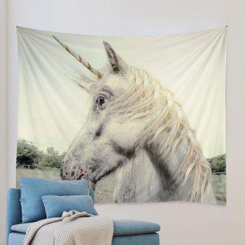 Unicorn Face Print Tapestry Wall Hanging Art - Blanc W79 INCH * L59 INCH