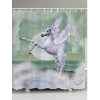 Winged Unicorn Print Fabric Bathroom Shower Curtain