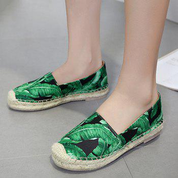 Tropical Printed Espadrille Flats - 37 37