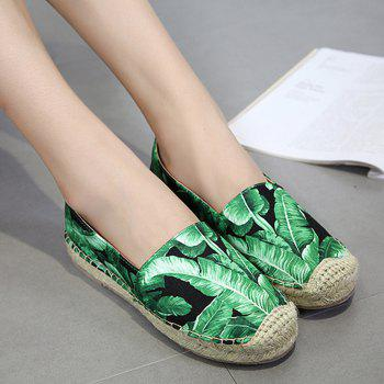 Tropical Printed Espadrille Flats - 38 38